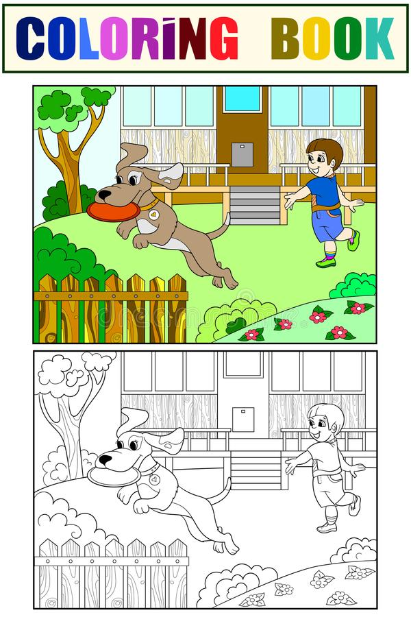 Playing a boy in nature with a dog in frisbee coloring book for children cartoon vector. Color, Black and white royalty free illustration