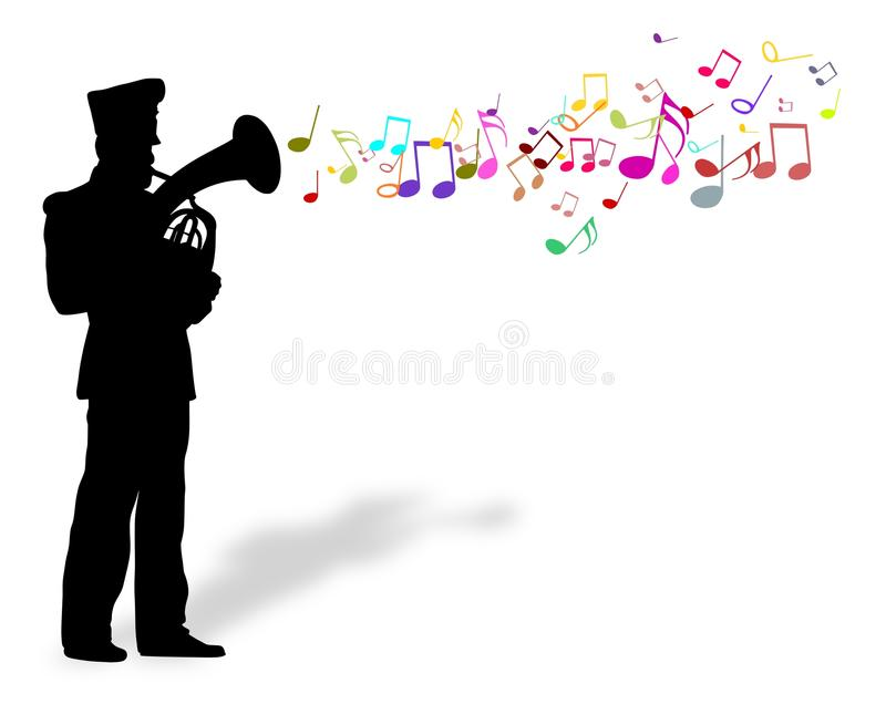 Playing brass instrument stock images