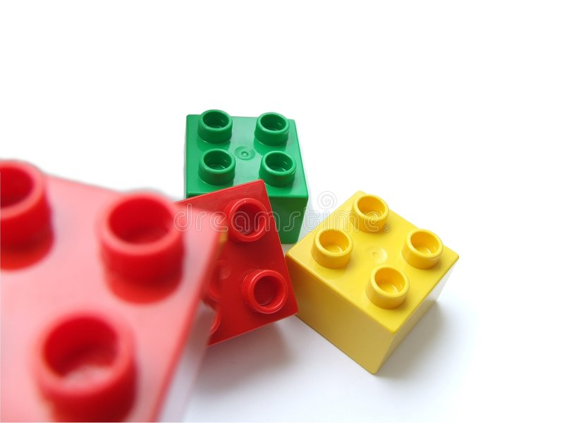 Playing building boxes stock image