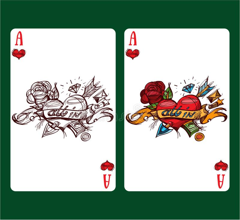 Playing card ace of hearts. royalty free stock photos
