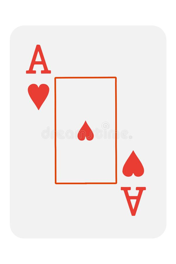 Playing card ace of hearts. Vector illustration. Eps 10 stock illustration