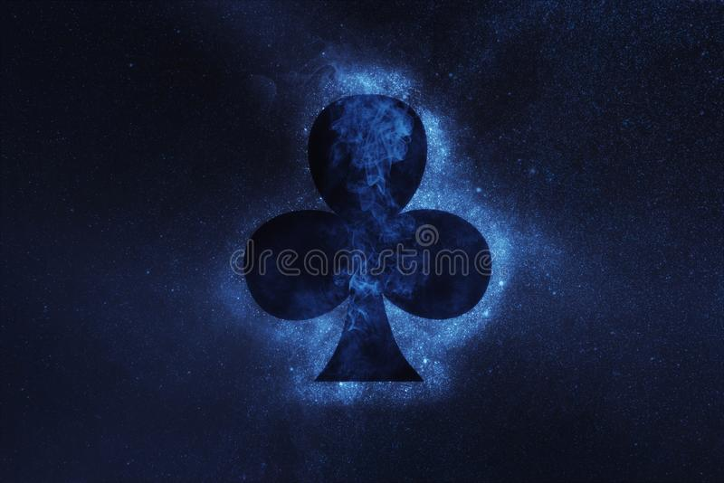 Playing card. Clubs symbol. Abstract night sky background. Concept Background stock image