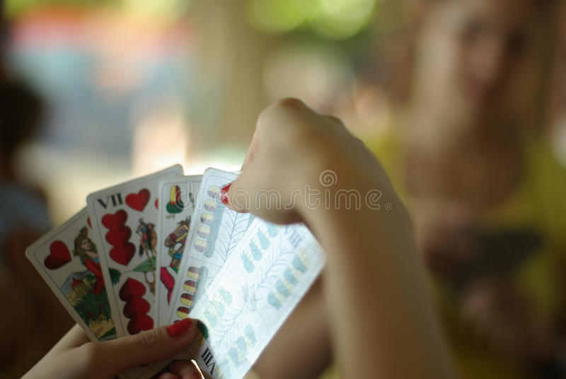 Download Playing A Card Game In Shallow Depth Of Field Stock Image - Image: 13978811