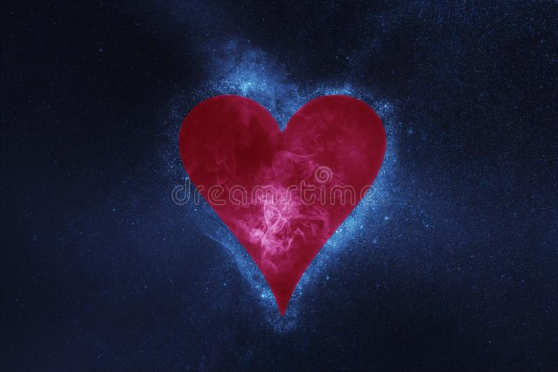 Playing card. Heart symbol. Abstract night sky background stock photos