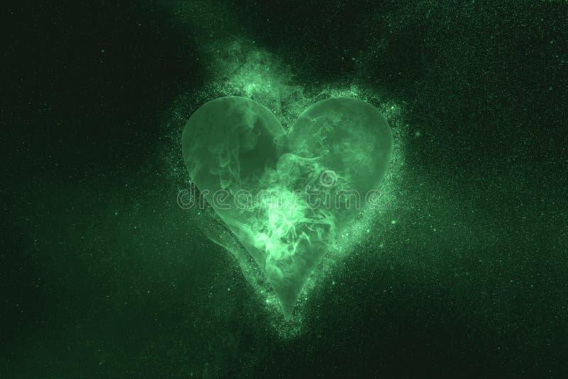 Playing card. Heart symbol. Green symbol. Symbol royalty free illustration