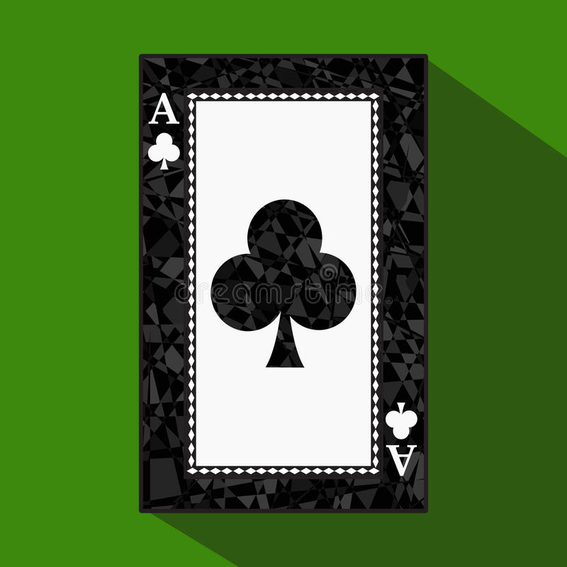 Playing card. the icon picture is easy. CLUB ace about dark region boundary. a illustration on green background. applicatio. Playing card. the icon picture is stock illustration