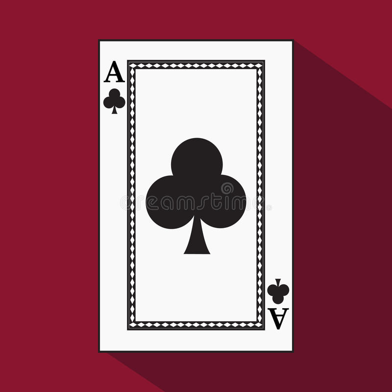 Playing card. the icon picture is easy. CLUB ace with white a basis substrate. illustration on red background. application. Playing card. the icon picture is stock illustration