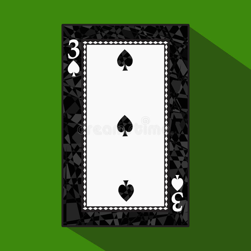 Playing card. the icon picture is easy. peak spide THREE 3 about dark region boundary. a illustration on green background. stock illustration