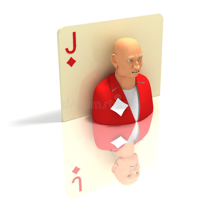 Playing Card: Jack Of Diamonds With Reflection Royalty Free Stock Images