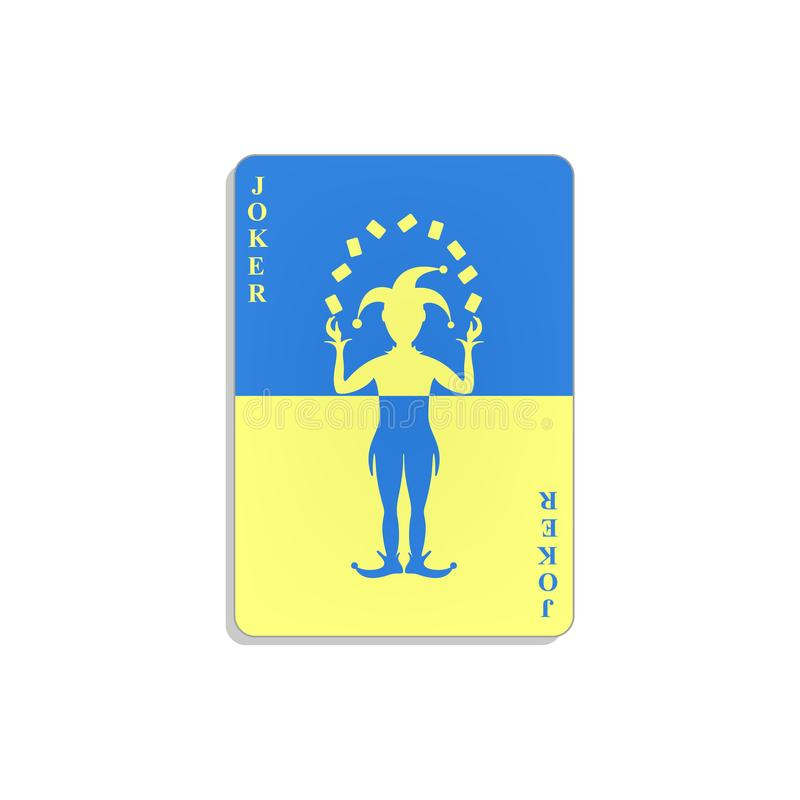 Playing card with Joker in blue and yellow design stock illustration
