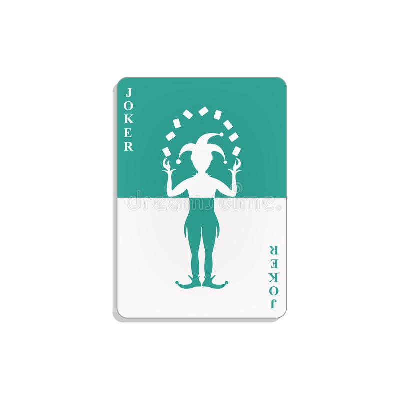 Playing card with Joker in cyan and white design vector illustration