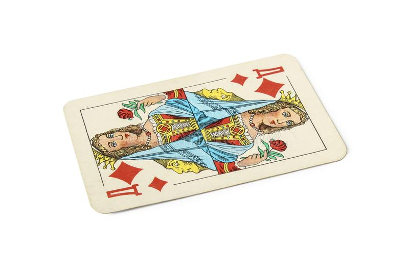 Playing card. With queen of diamonds isolated on white royalty free stock images