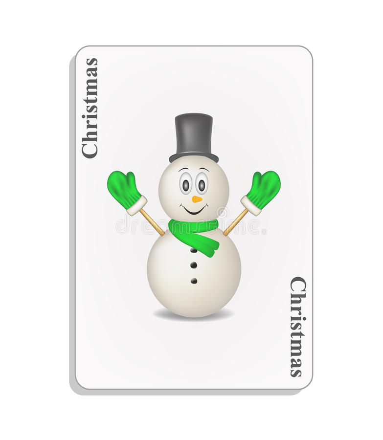 Playing card with smiling snowman and christmas vector illustration