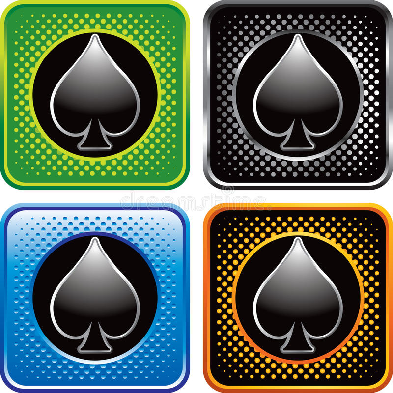 Playing Card Spade Suit On Halftone Web Buttons Stock Vector