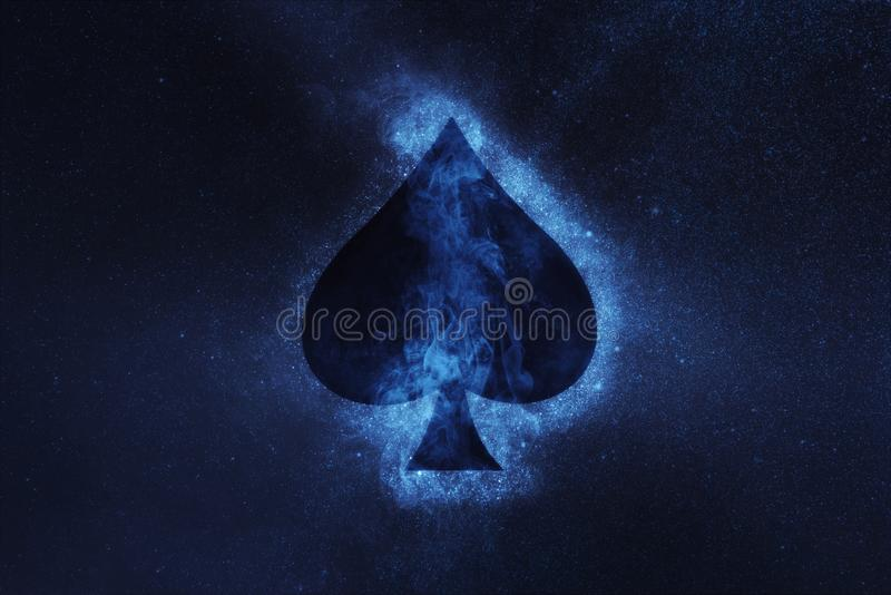 Playing card. Spade symbol. Abstract night sky background. Concept Background royalty free stock photography