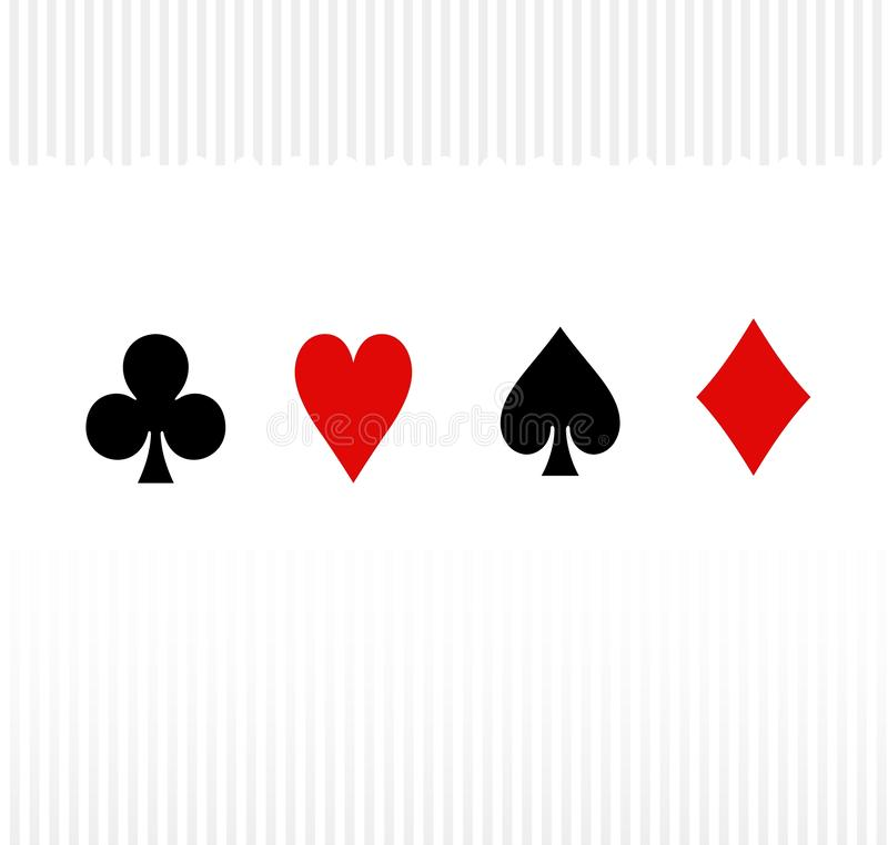 Playing card suit icon on the white background. Illustration design. Bet, club, casino, diamond, red, black, set, collection, creative, graphic, symbol, shapes stock photography