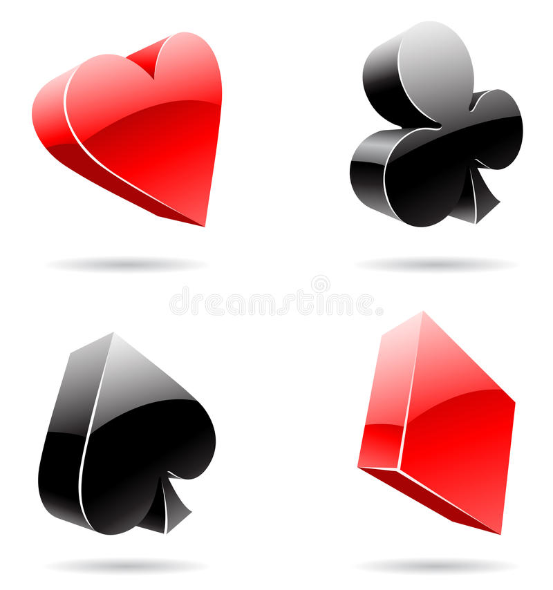 Playing Card Suits. Vector EPS illustration of 3d glossy playing card suits royalty free illustration