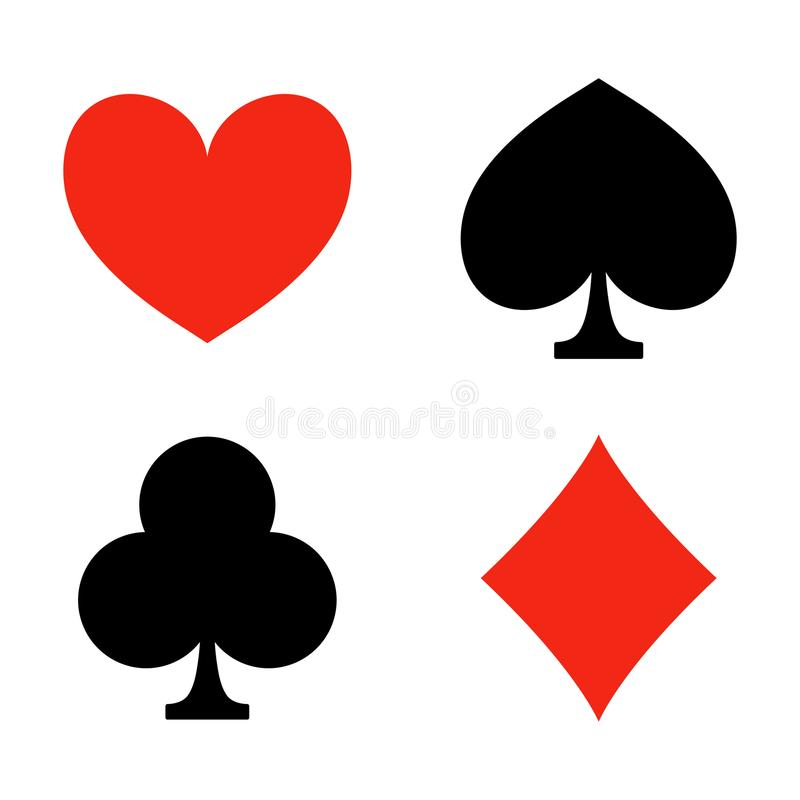 Playing card suits. Game. Casino icons. Heart, diamond, club and spade. Vector illustration. Isolated on white background stock illustration