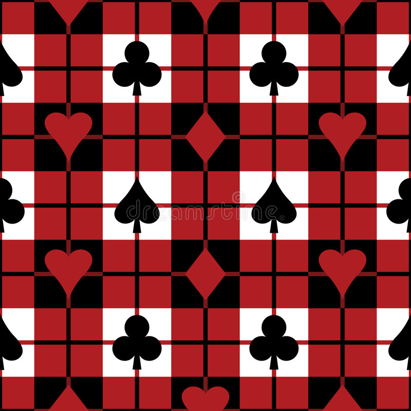 Playing Card Suits Pattern. A 12 square repeating plaid pattern with the four playing card suits vector illustration