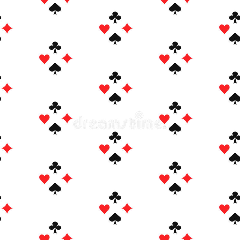 Playing card suits seamless pattern. Gambling game card symbols vector white background royalty free illustration