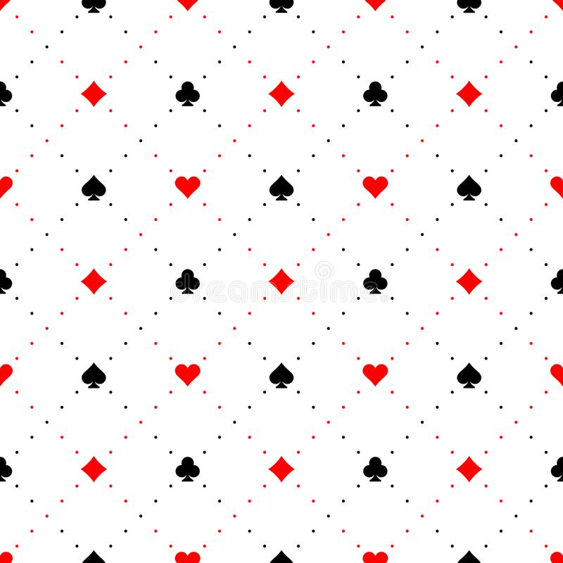 Playing card suits signs seamless pattern background. Black and red color signs with diagonal dots royalty free illustration