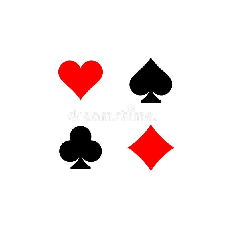 Playing card suits signs set. Four card symbols. Black and red colors royalty free illustration