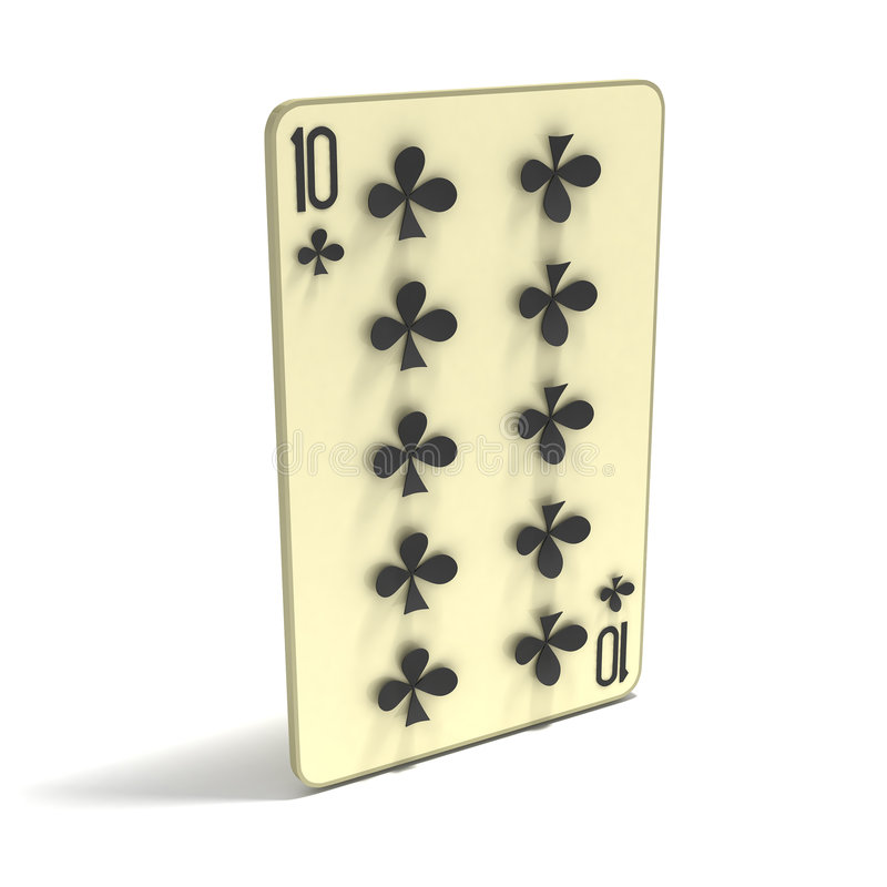 Playing Card: Ten Of Clubs Royalty Free Stock Photos