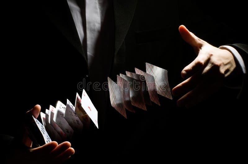 Playing-card trick stock photos
