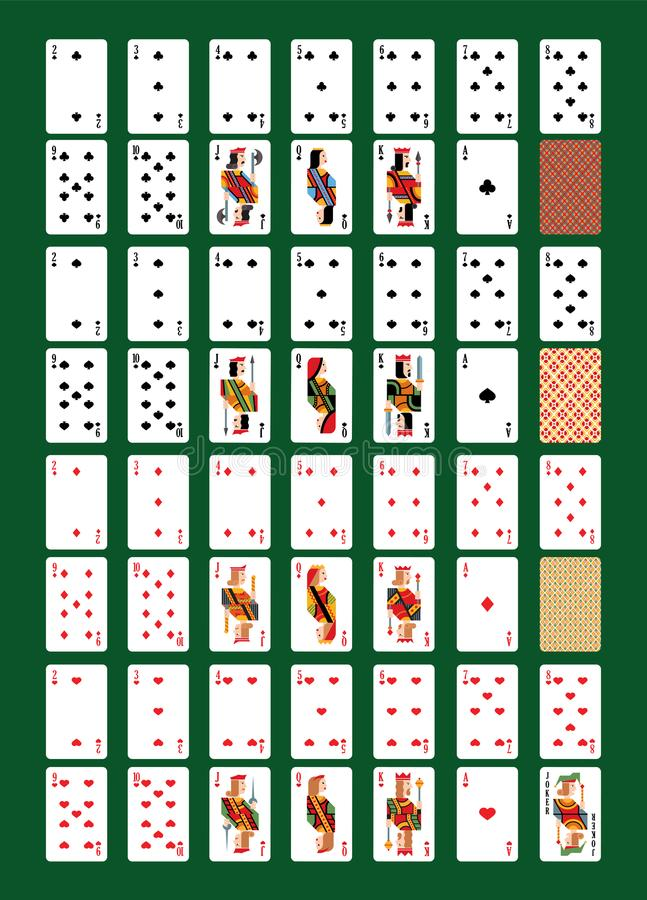 Playing-card vector playing cards for poker in casino illustration set of players gambling game signs king queen and stock illustration