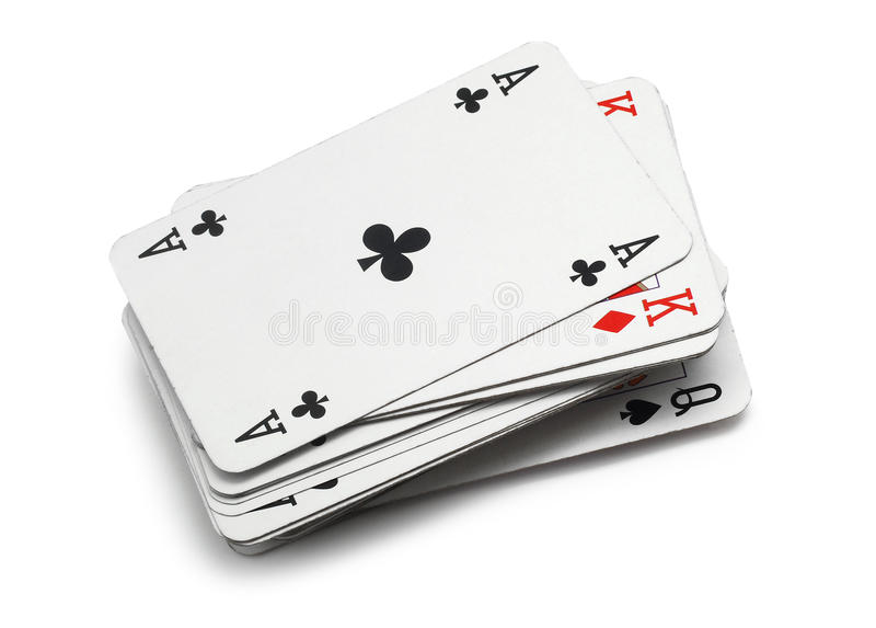 Playing cards. Classic playing cards isolated on white royalty free stock photo