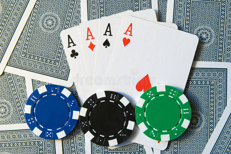 Download Playing Cards With 4 Aces And Poker Chips Stock Image - Image: 10662727