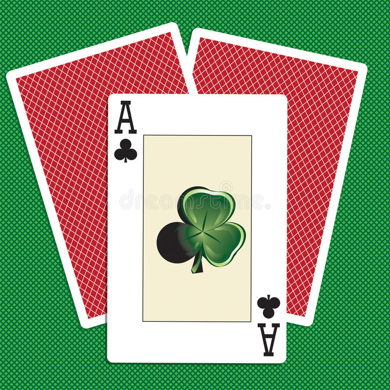 Playing cards. With a clover flower vector illustration
