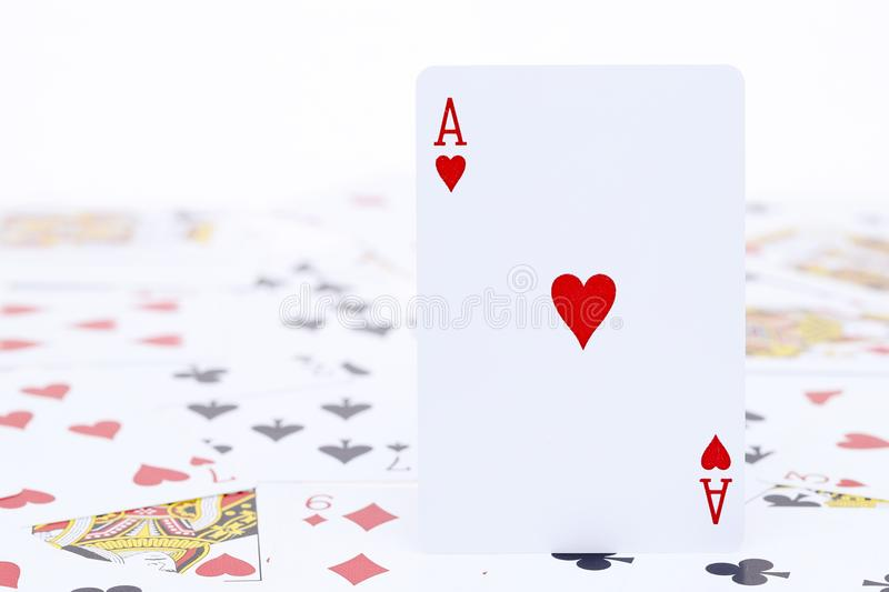 Playing cards ace of heart royalty free stock photos
