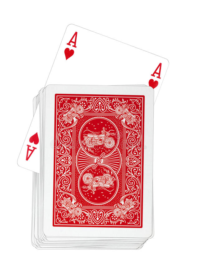 Playing Cards - Ace of Hearts Turns Up in Red Deck royalty free stock photography