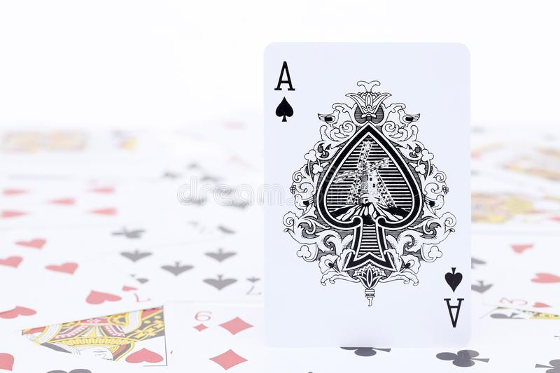 Playing cards ace of spade royalty free stock photography
