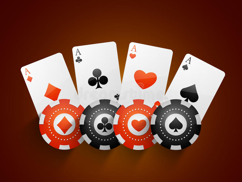 Playing cards with Casino chips. Ace playing cards with Casino chips on brown background vector illustration