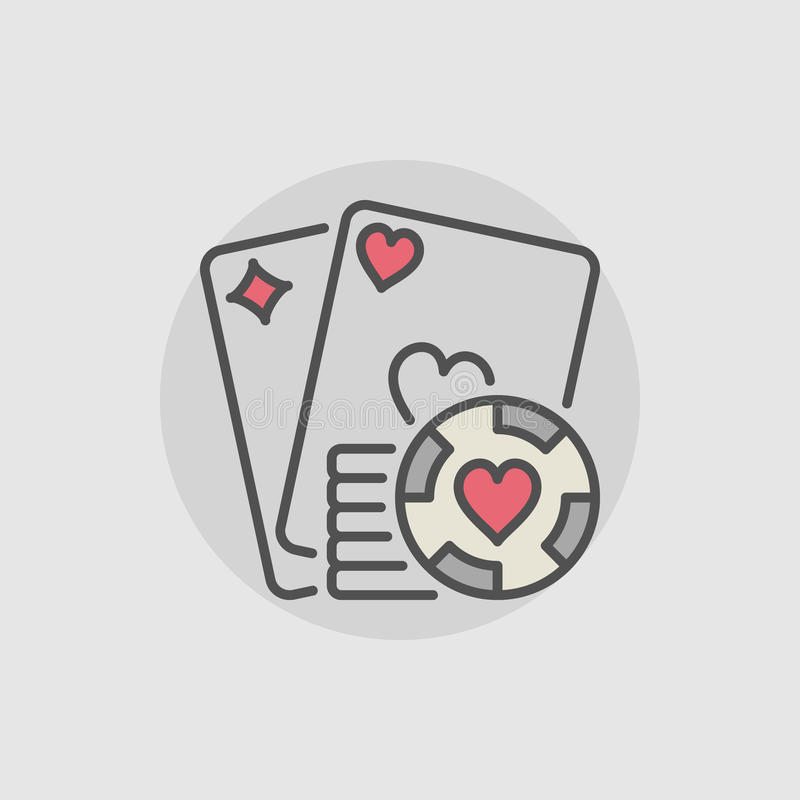 Playing cards and casino chips icon. Vector colorful poker and casino concept sign or logo element stock illustration