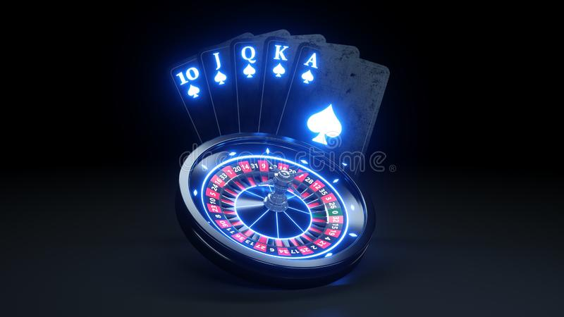 Playing Cards and Casino Roulette Wheel Concept Design. Online Casino Gambling Concept - 3D Illustration. Casino Gambling Futuristic Concept, Roulette Wheel and royalty free illustration