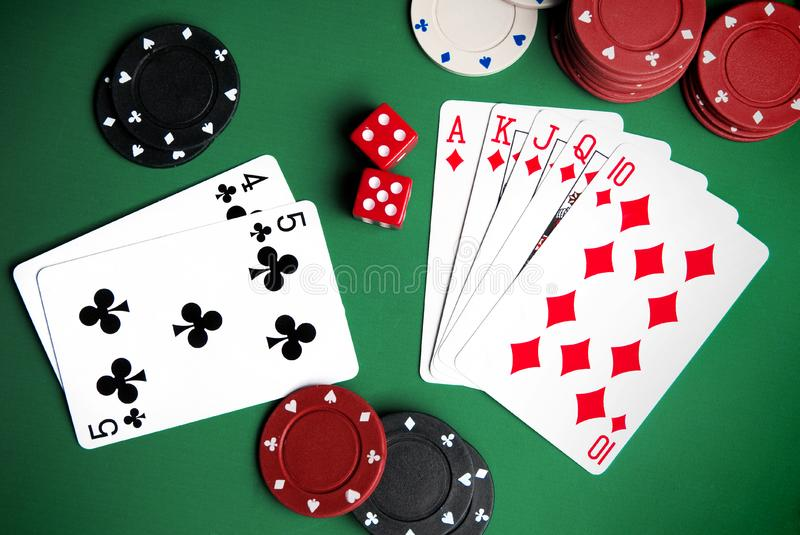 Download Playing cards and chips stock image. Image of competition - 18389961