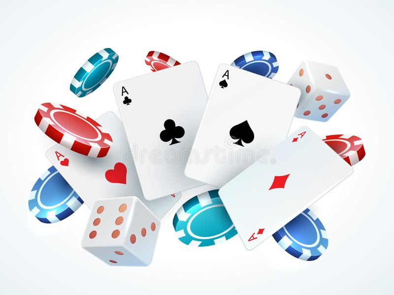 Playing cards chips dice. Casino poker gambling realistic 3D falling cards and chips isolated on white. Vector poker royalty free illustration