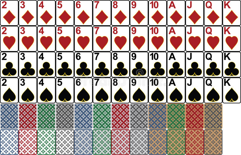 Playing cards. Designed for computer casino games. Card aspect ratio is based on poker card size 63.5mm x 88.9mm royalty free illustration