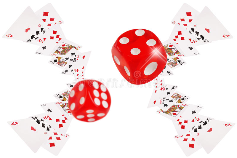 Playing cards and dice flying at the poker table stock illustration