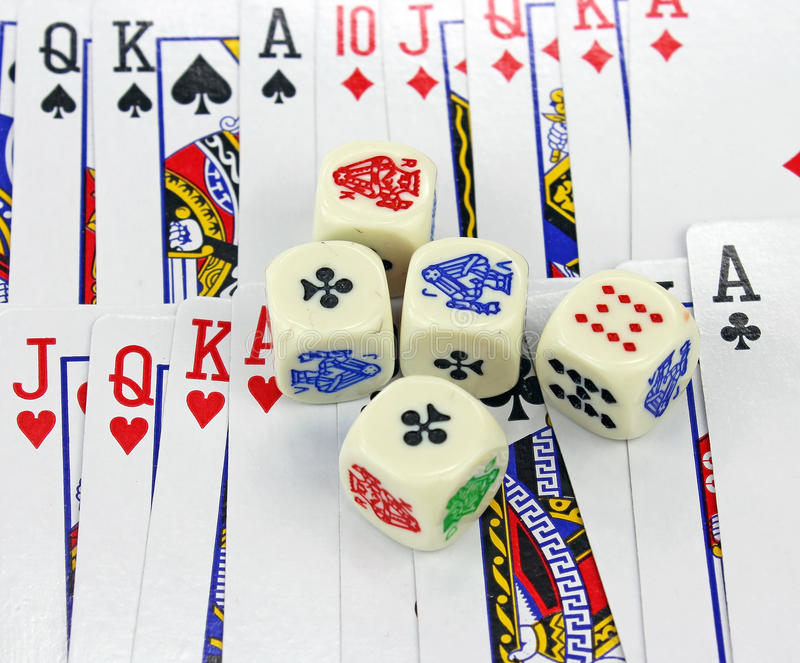 Download Playing cards with dices stock photo. Image of cube, luck - 30763176