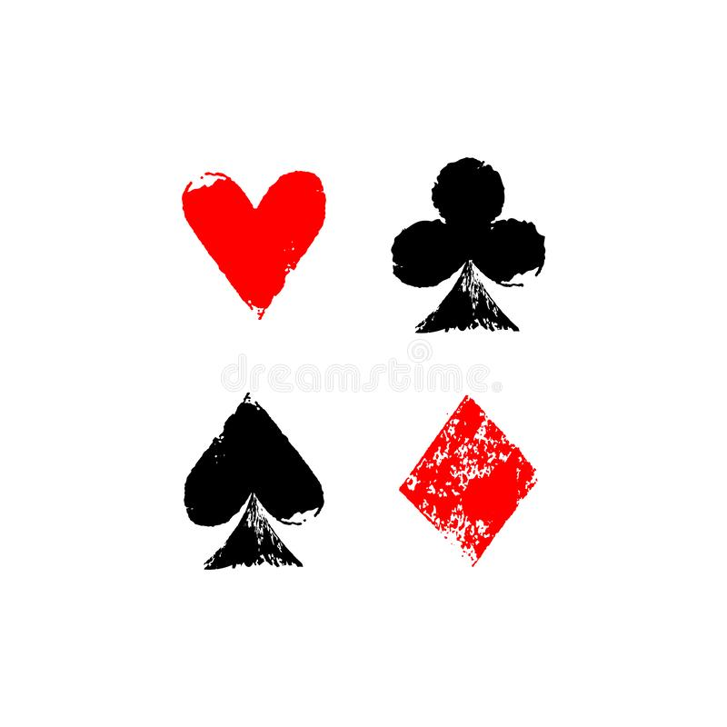 Playing cards different suits - hearts, diamonds, spades and clubs - grunge sponge prints, vector. Illustration stock illustration