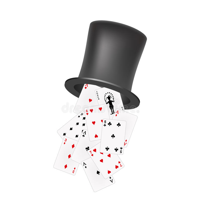 Playing cards falling out of a hat royalty free illustration