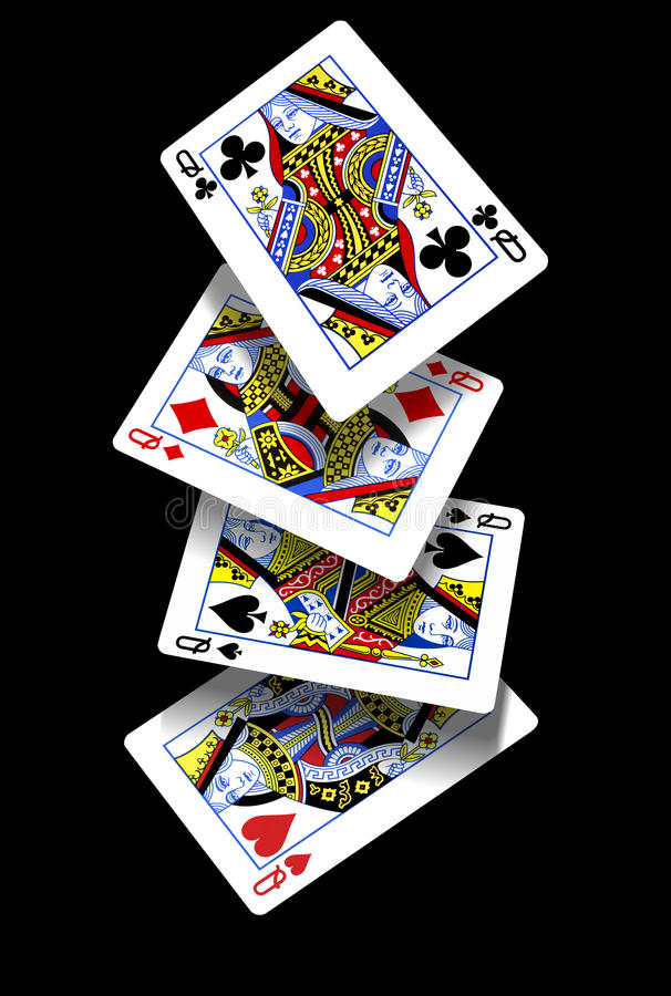 Playing Cards - Falling Queens royalty free stock photography