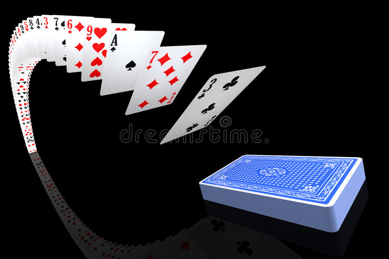Playing cards flying to/from the deck. Hi-res 3d rendering vector illustration