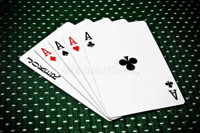 Playing Cards - Four Aces and stock image