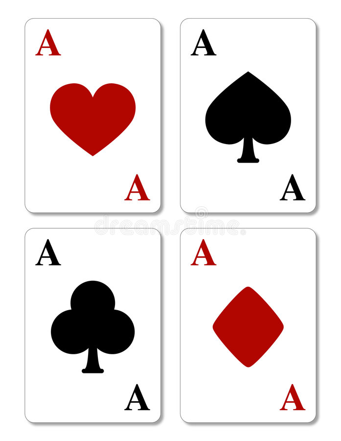 Playing cards, four aces vector illustration