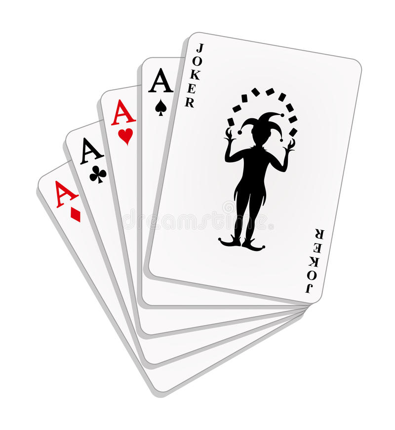 Playing cards - four aces and a joker royalty free illustration